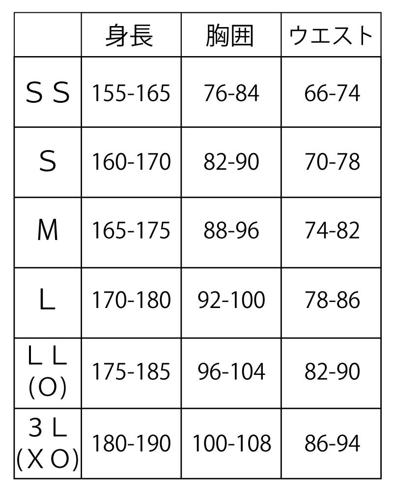 体操服サイズ表